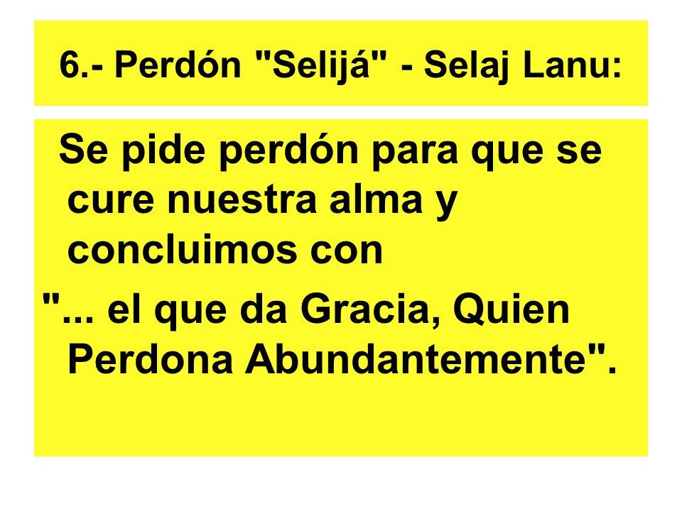 6.- Perdón Selijá - Selaj Lanu: Se pide perdón para que se cure nuestra alma y concluimos con ...