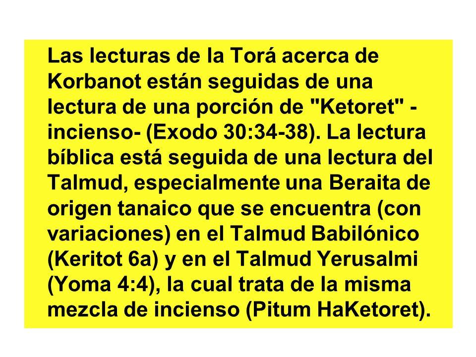 Las lecturas de la Torá acerca de Korbanot están seguidas de una lectura de una porción de Ketoret - incienso- (Exodo 30:34-38).