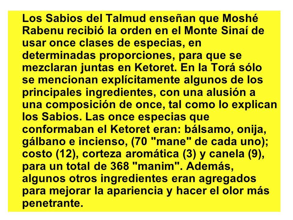 Los Sabios del Talmud enseñan que Moshé Rabenu recibió la orden en el Monte Sinaí de usar once clases de especias, en determinadas proporciones, para
