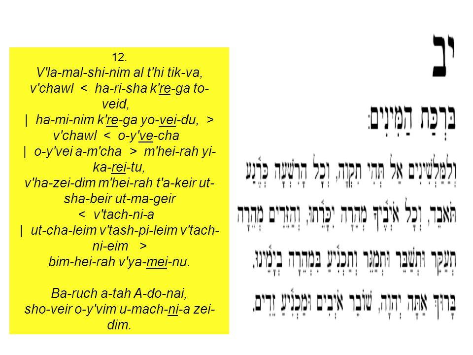 12. V'la-mal-shi-nim al t'hi tik-va, v'chawl < ha-ri-sha k're-ga to- veid, | ha-mi-nim k're-ga yo-vei-du, > v'chawl < o-y've-cha | o-y'vei a-m'cha > m