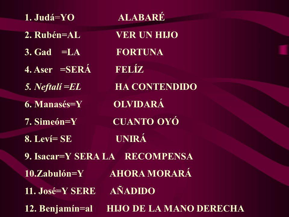 1. Judá=YO ALABARÉ 2. Rubén=AL VER UN HIJO 3. Gad =LA FORTUNA 4. Aser =SERÁ FELÍZ 5. Neftalí =EL HA CONTENDIDO 6. Manasés=Y OLVIDARÁ 7. Simeón=Y CUANT