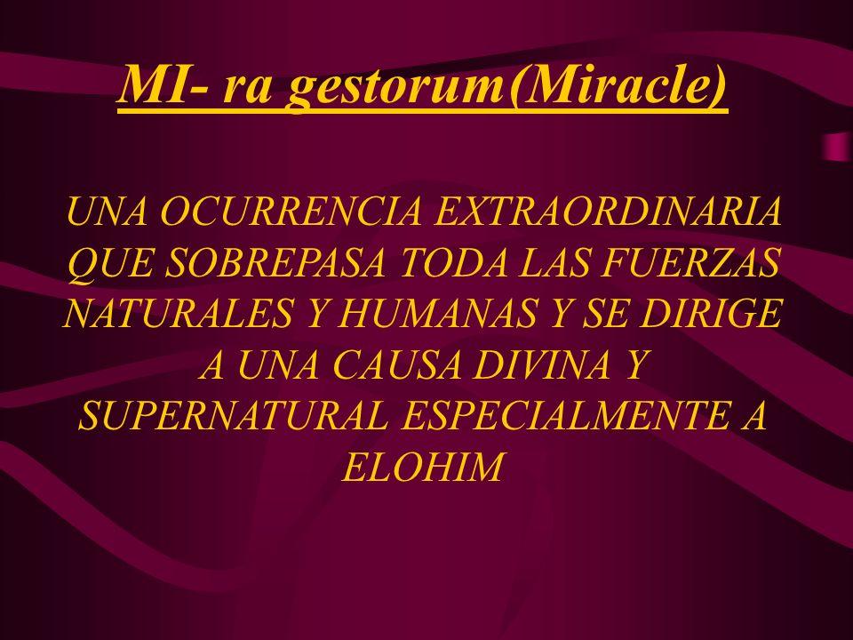 MI- ra gestorum(Miracle) UNA OCURRENCIA EXTRAORDINARIA QUE SOBREPASA TODA LAS FUERZAS NATURALES Y HUMANAS Y SE DIRIGE A UNA CAUSA DIVINA Y SUPERNATURA