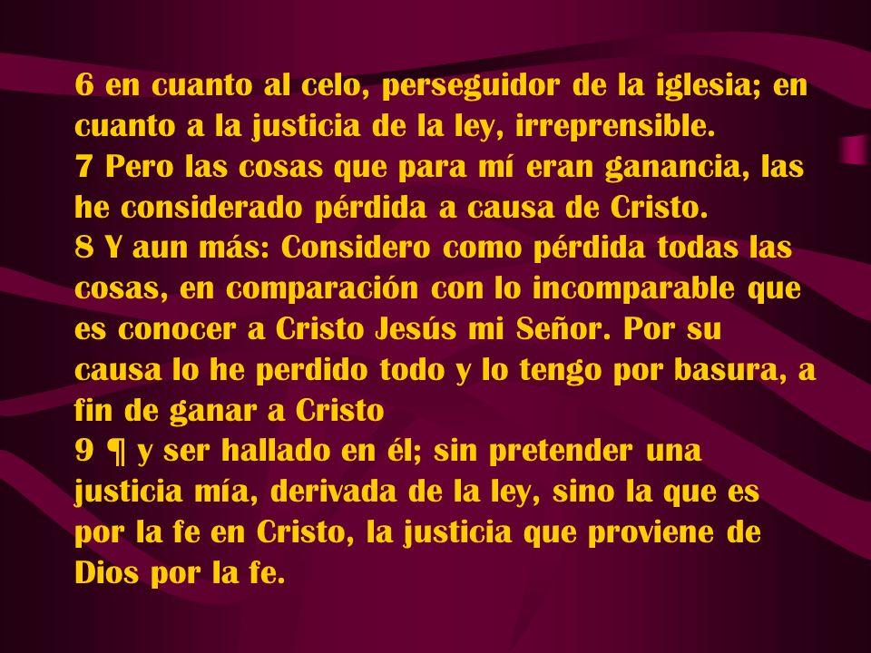 6 en cuanto al celo, perseguidor de la iglesia; en cuanto a la justicia de la ley, irreprensible. 7 Pero las cosas que para mí eran ganancia, las he c