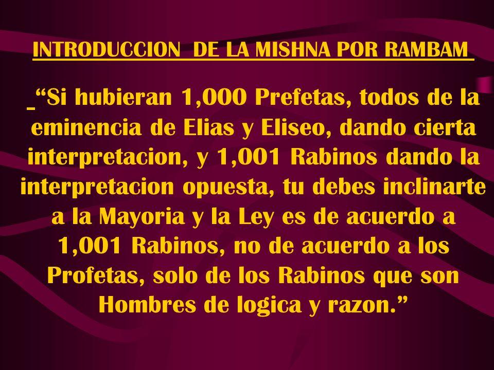 INTRODUCCION DE LA MISHNA POR RAMBAM Si hubieran 1,000 Prefetas, todos de la eminencia de Elias y Eliseo, dando cierta interpretacion, y 1,001 Rabinos