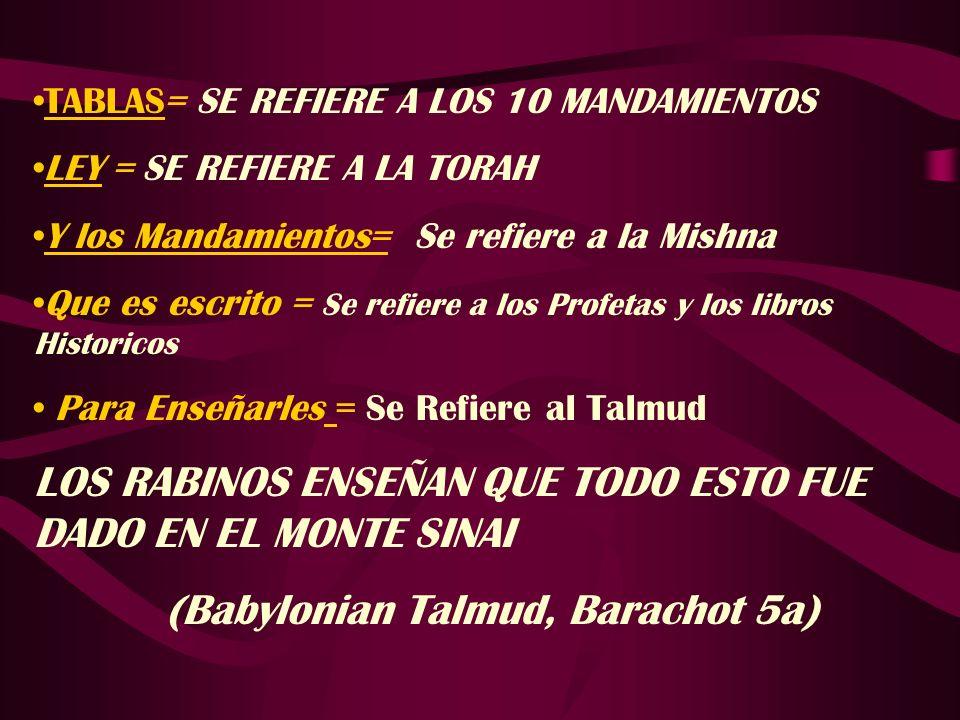 TABLAS= SE REFIERE A LOS 10 MANDAMIENTOS LEY = SE REFIERE A LA TORAH Y los Mandamientos= Se refiere a la Mishna Que es escrito = Se refiere a los Prof