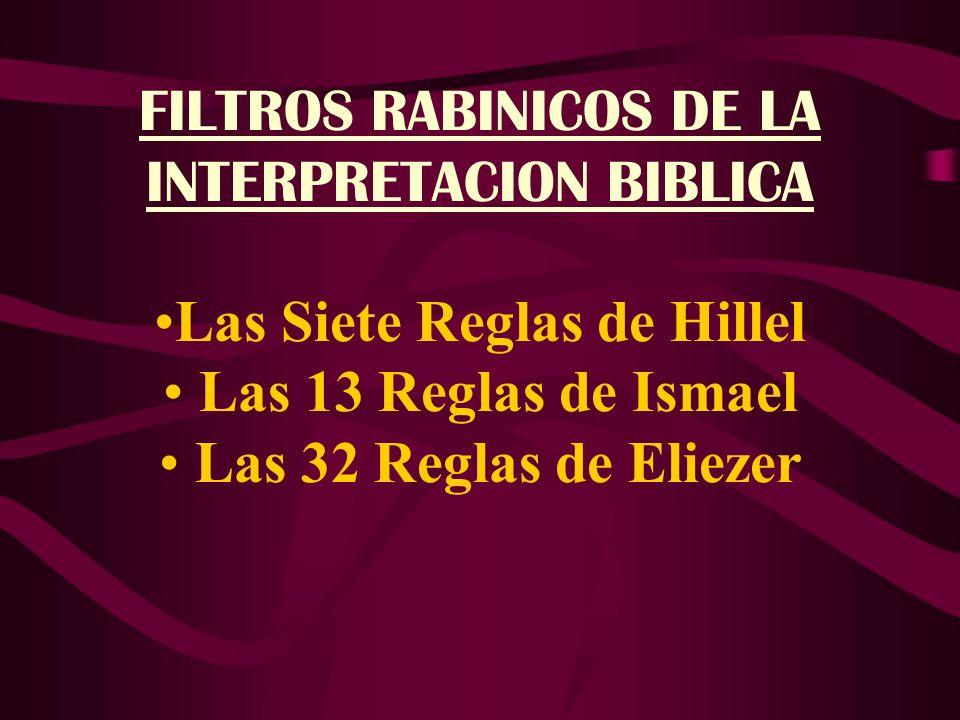 FILTROS RABINICOS DE LA INTERPRETACION BIBLICA Las Siete Reglas de Hillel Las 13 Reglas de Ismael Las 32 Reglas de Eliezer