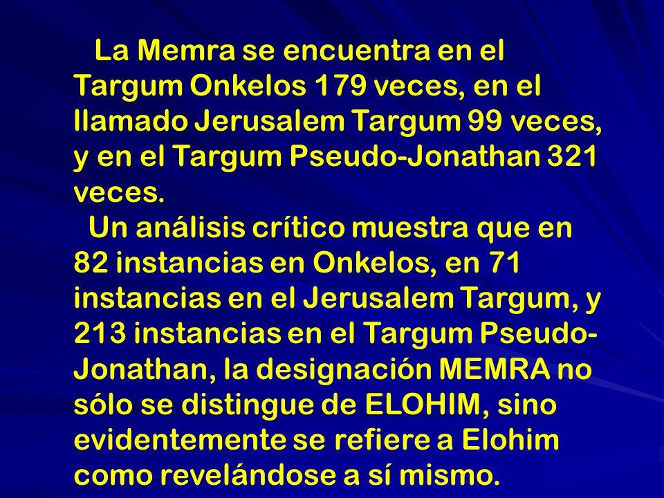 Hablando de la MEMRA Speaking of the Memra Gershom Scholem stablece:...La memrala parafrasis usada en los Targumim, la traduccion de la Biblia en Arameo, en referencia a la MEMRA de Elohim.