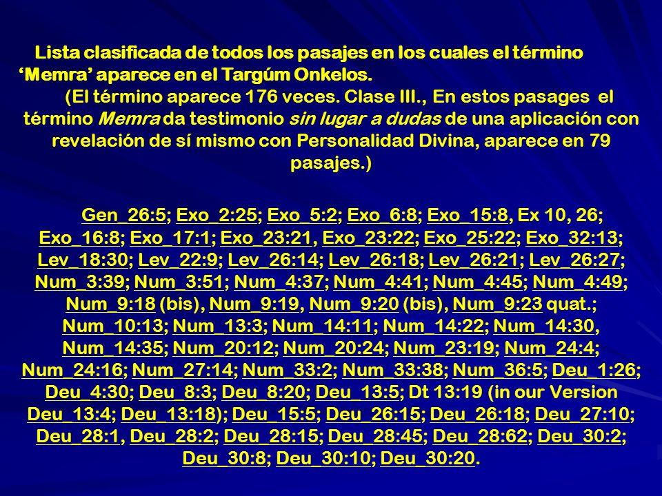Lista clasificada de pasajes (de acuerdo al siguiente esquema) en el cual el término Memra aparece en el Targum Jerushalmi en el Pentateuco.