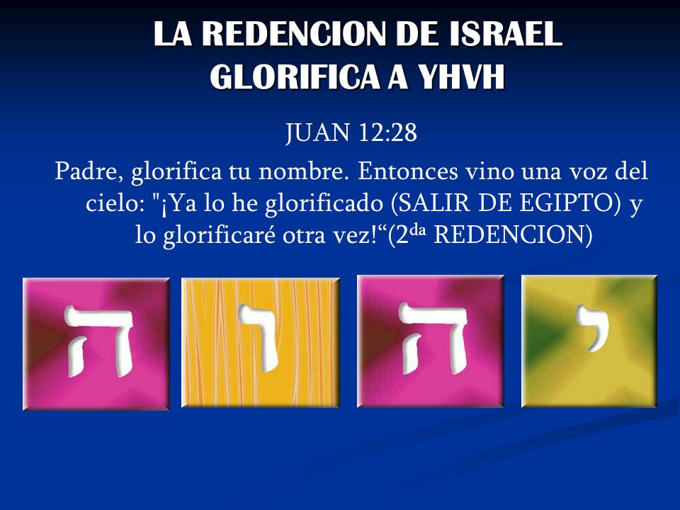 LA REDENCION DE ISRAEL GLORIFICA A YHVH JUAN 12:28 Padre, glorifica tu nombre. Entonces vino una voz del cielo: