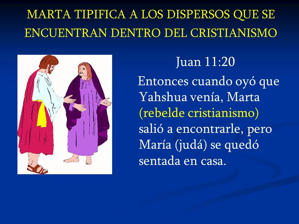 MARTA TIPIFICA A LOS DISPERSOS QUE SE ENCUENTRAN DENTRO DEL CRISTIANISMO Juan 11:20 Entonces cuando oyó que Yahshua venía, Marta (rebelde cristianismo
