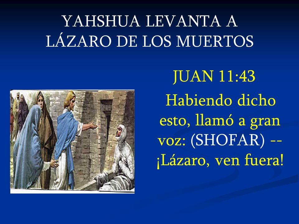 YAHSHUA LEVANTA A LÁZARO DE LOS MUERTOS JUAN 11:43 Habiendo dicho esto, llamó a gran voz: (SHOFAR) -- ¡Lázaro, ven fuera!