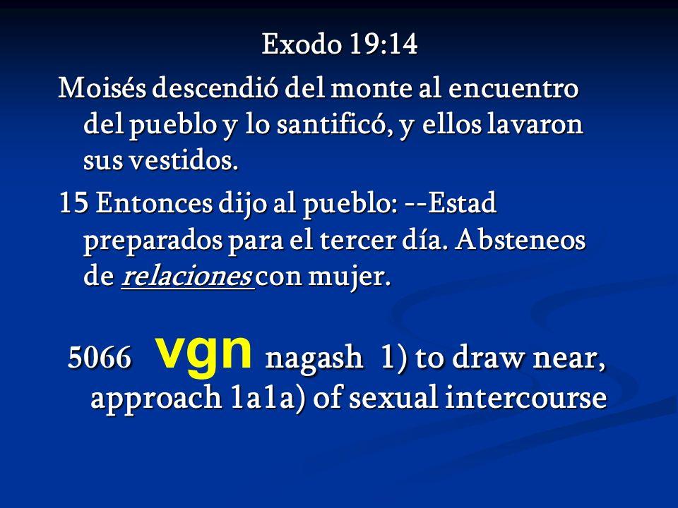 Exodo 19:14 Exodo 19:14 Moisés descendió del monte al encuentro del pueblo y lo santificó, y ellos lavaron sus vestidos. 15 Entonces dijo al pueblo: -