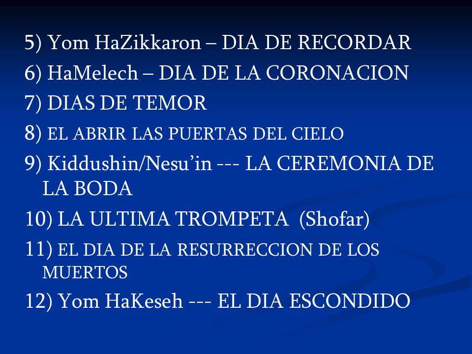 5) Yom HaZikkaron – DIA DE RECORDAR 6) HaMelech – DIA DE LA CORONACION 7) DIAS DE TEMOR 8) EL ABRIR LAS PUERTAS DEL CIELO 9) Kiddushin/Nesuin --- LA C