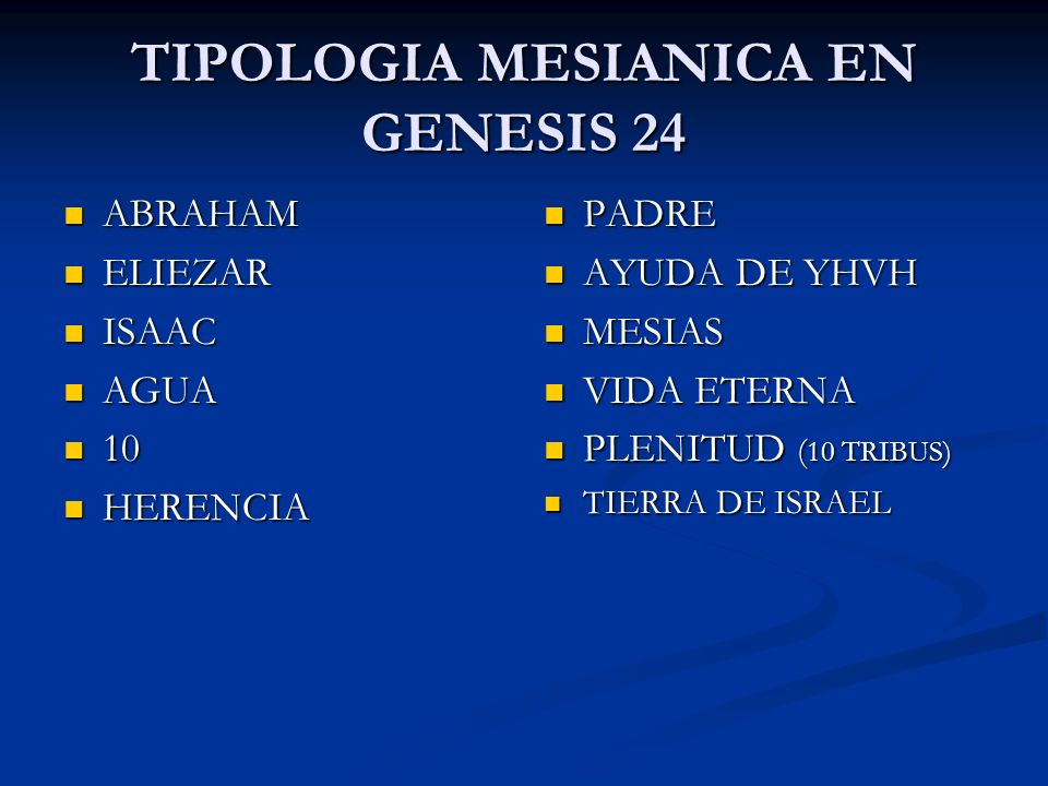 TIPOLOGIA MESIANICA EN GENESIS 24 ABRAHAM ABRAHAM ELIEZAR ELIEZAR ISAAC ISAAC AGUA AGUA 10 10 HERENCIA HERENCIA PADRE AYUDA DE YHVH MESIAS VIDA ETERNA