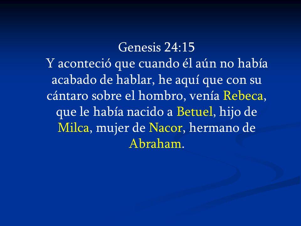 Genesis 24:15 Y aconteció que cuando él aún no había acabado de hablar, he aquí que con su cántaro sobre el hombro, venía Rebeca, que le había nacido