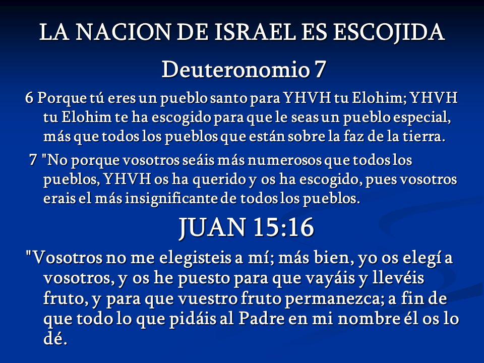 LA NACION DE ISRAEL ES ESCOJIDA Deuteronomio 7 6 Porque tú eres un pueblo santo para YHVH tu Elohim; YHVH tu Elohim te ha escogido para que le seas un