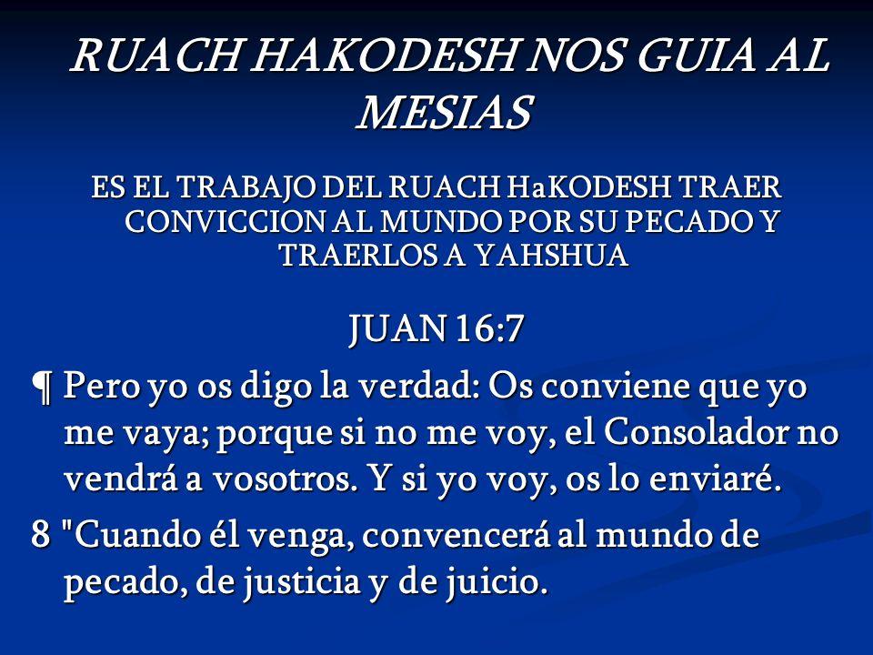 RUACH HAKODESH NOS GUIA AL MESIAS RUACH HAKODESH NOS GUIA AL MESIAS ES EL TRABAJO DEL RUACH HaKODESH TRAER CONVICCION AL MUNDO POR SU PECADO Y TRAERLO