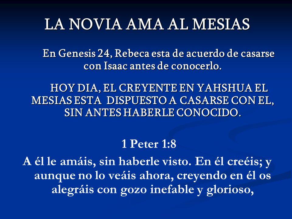 LA NOVIA AMA AL MESIAS En Genesis 24, Rebeca esta de acuerdo de casarse con Isaac antes de conocerlo. En Genesis 24, Rebeca esta de acuerdo de casarse