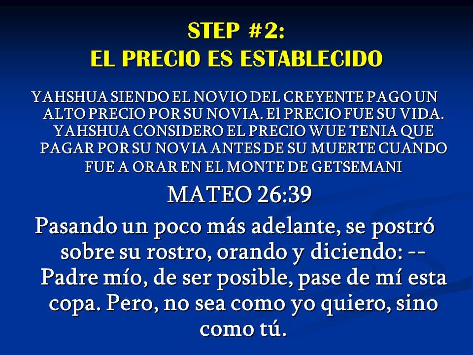 STEP #2: EL PRECIO ES ESTABLECIDO YAHSHUA SIENDO EL NOVIO DEL CREYENTE PAGO UN ALTO PRECIO POR SU NOVIA. El PRECIO FUE SU VIDA. YAHSHUA CONSIDERO EL P