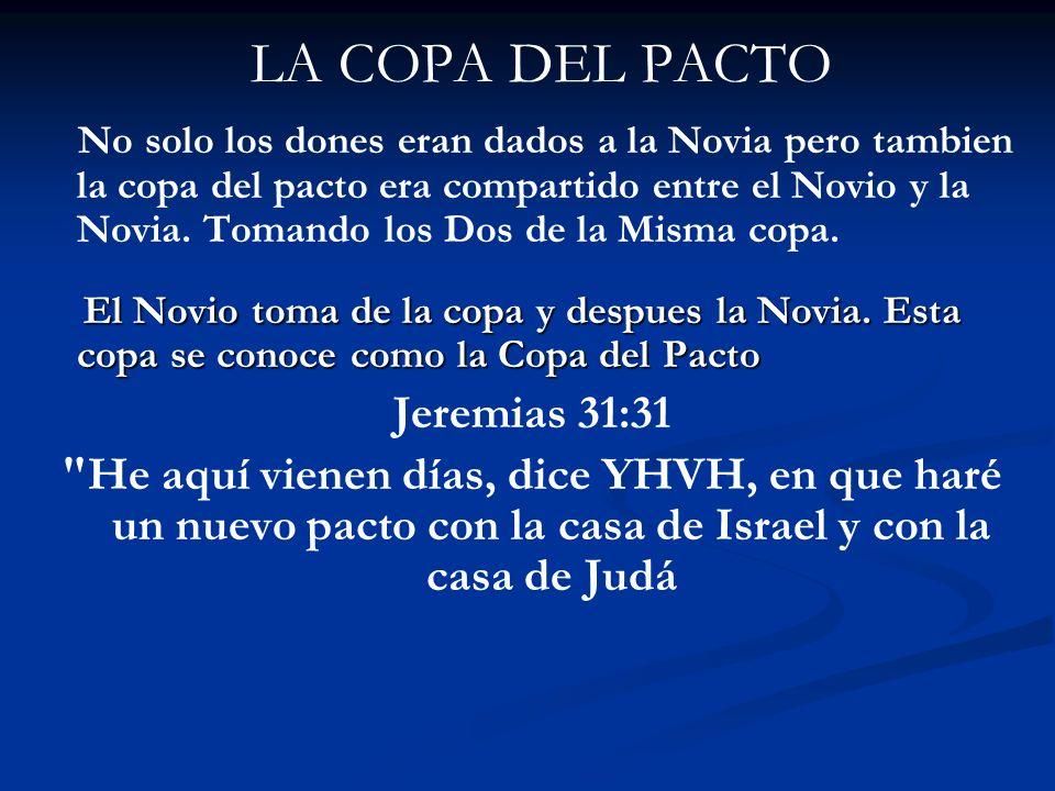 LA COPA DEL PACTO No solo los dones eran dados a la Novia pero tambien la copa del pacto era compartido entre el Novio y la Novia. Tomando los Dos de