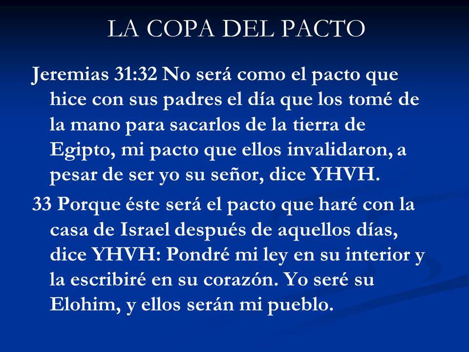 LA COPA DEL PACTO Jeremias 31:32 No será como el pacto que hice con sus padres el día que los tomé de la mano para sacarlos de la tierra de Egipto, mi