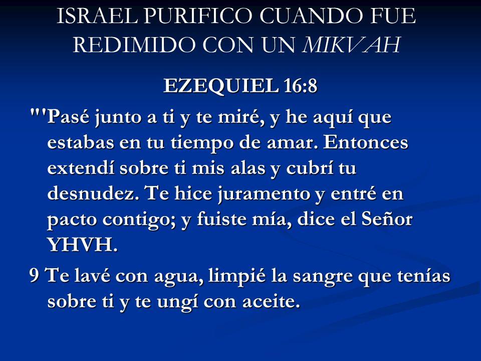 ISRAEL PURIFICO CUANDO FUE REDIMIDO CON UN MIKVAH EZEQUIEL 16:8