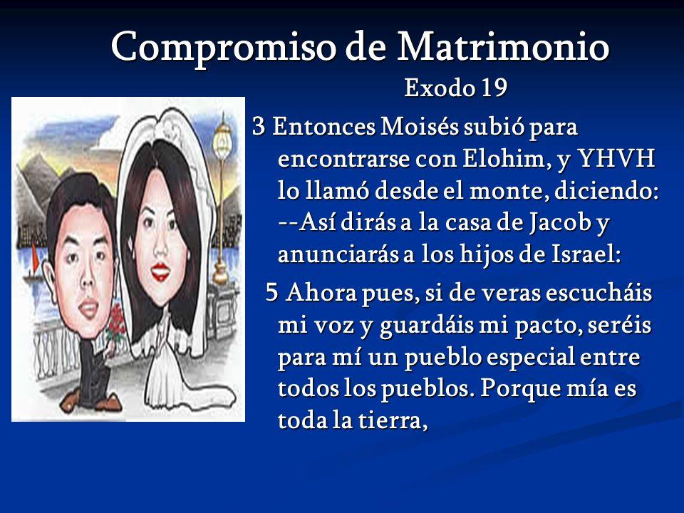 Compromiso de Matrimonio Compromiso de Matrimonio Exodo 19 3 Entonces Moisés subió para encontrarse con Elohim, y YHVH lo llamó desde el monte, dicien