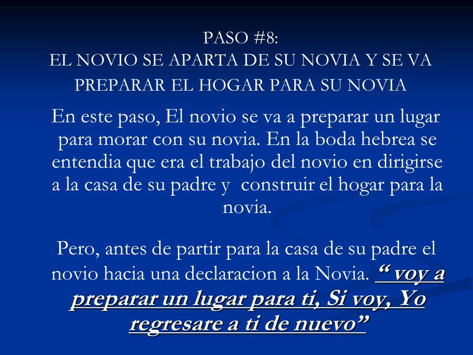 PASO #8: EL NOVIO SE APARTA DE SU NOVIA Y SE VA PREPARAR EL HOGAR PARA SU NOVIA En este paso, El novio se va a preparar un lugar para morar con su nov