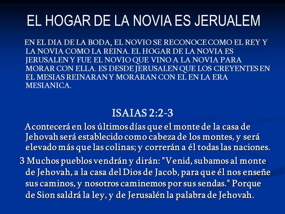EL HOGAR DE LA NOVIA ES JERUALEM EN EL DIA DE LA BODA, EL NOVIO SE RECONOCE COMO EL REY Y LA NOVIA COMO LA REINA. EL HOGAR DE LA NOVIA ES JERUSALEN Y