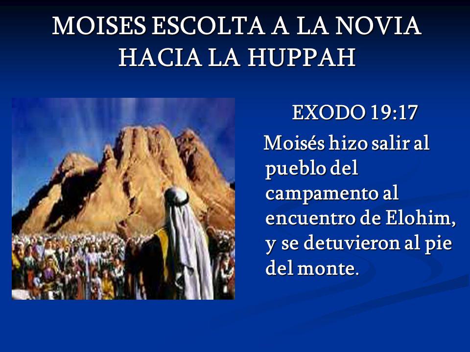 MOISES ESCOLTA A LA NOVIA HACIA LA HUPPAH MOISES ESCOLTA A LA NOVIA HACIA LA HUPPAH EXODO 19:17 Moisés hizo salir al pueblo del campamento al encuentr