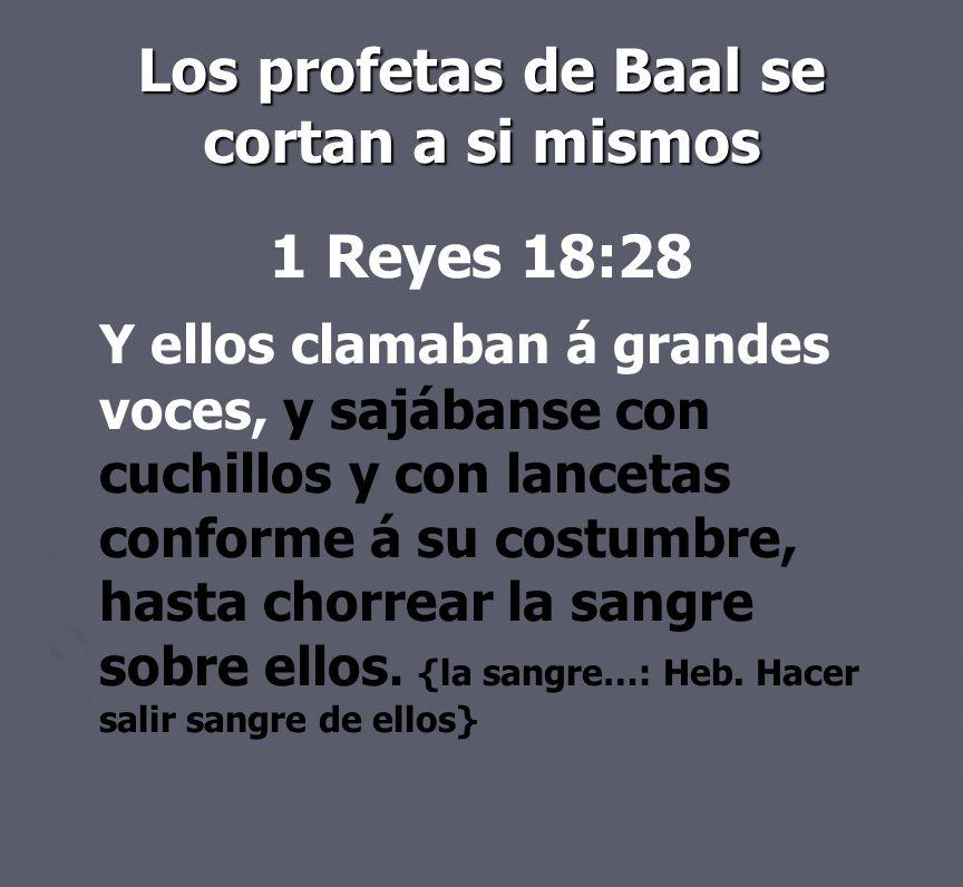 Los profetas de Baal se cortan a si mismos 1 Reyes 18:28 Y ellos clamaban á grandes voces, y sajábanse con cuchillos y con lancetas conforme á su cost