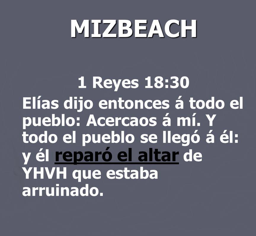 MIZBEACH 1 Reyes 18:30 Elías dijo entonces á todo el pueblo: Acercaos á mí. Y todo el pueblo se llegó á él: y él reparó el altar de YHVH que estaba ar