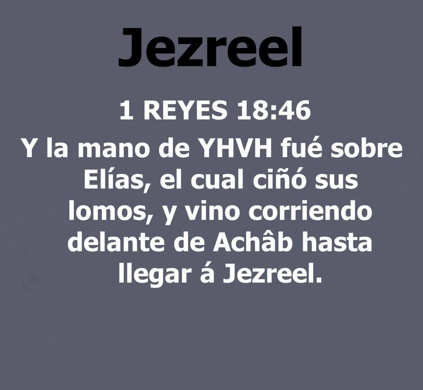 Jezreel 1 REYES 18:46 Y la mano de YHVH fué sobre Elías, el cual ciñó sus lomos, y vino corriendo delante de Achâb hasta llegar á Jezreel.
