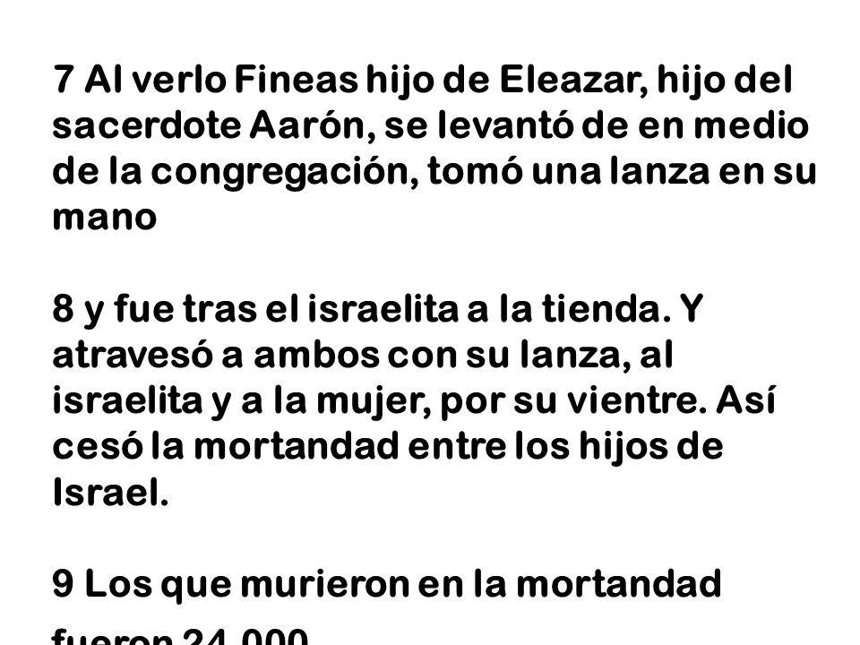 7 Al verlo Fineas hijo de Eleazar, hijo del sacerdote Aarón, se levantó de en medio de la congregación, tomó una lanza en su mano 8 y fue tras el isra