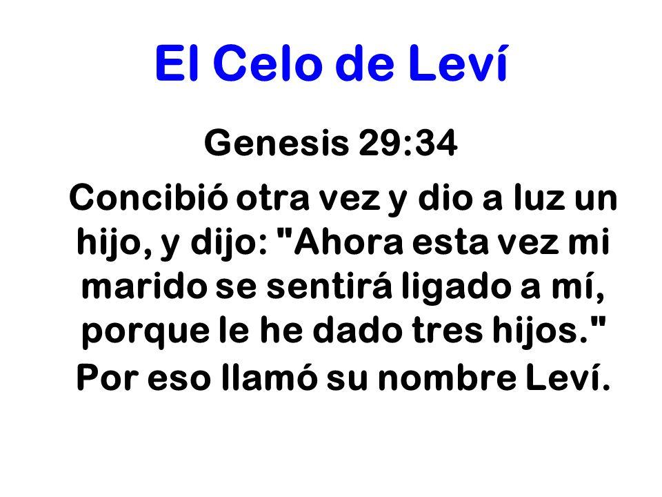 El Celo de Leví Genesis 29:34 Concibió otra vez y dio a luz un hijo, y dijo: