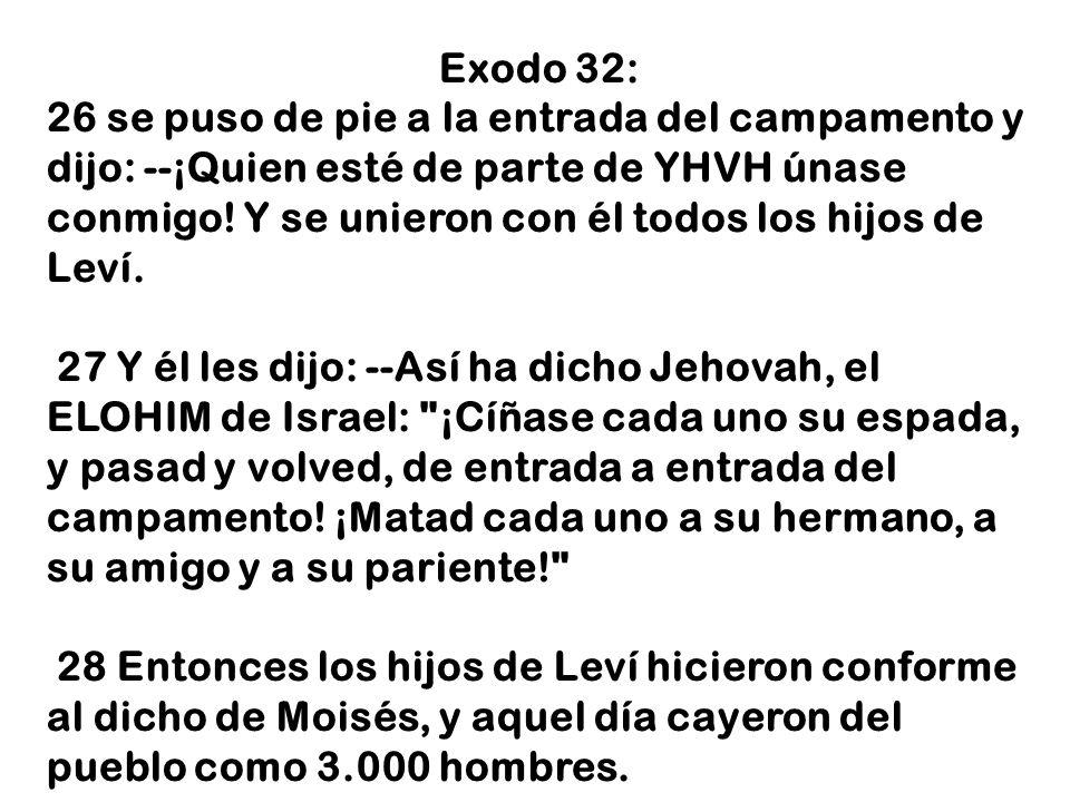 Exodo 32: 26 se puso de pie a la entrada del campamento y dijo: --¡Quien esté de parte de YHVH únase conmigo! Y se unieron con él todos los hijos de L