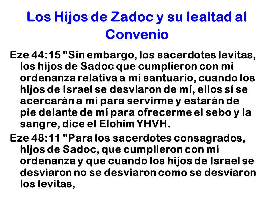 Los Hijos de Zadoc y su lealtad al Convenio Eze 44:15