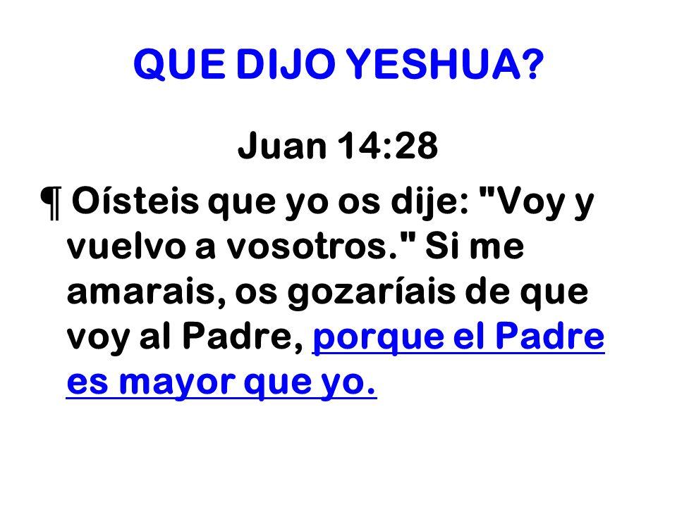 QUE DIJO YESHUA? Juan 14:28 ¶ Oísteis que yo os dije: