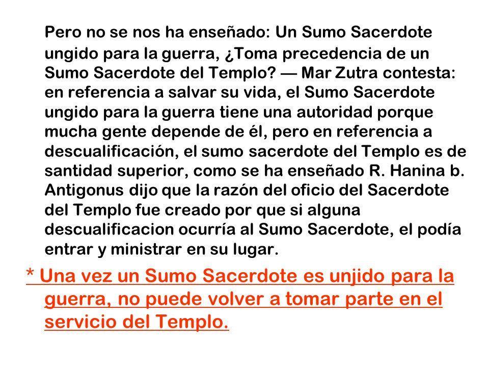 Pero no se nos ha enseñado: Un Sumo Sacerdote ungido para la guerra, ¿Toma precedencia de un Sumo Sacerdote del Templo? Mar Zutra contesta: en referen