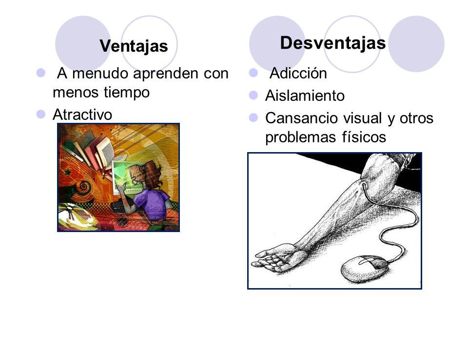 A menudo aprenden con menos tiempo Atractivo Ventajas Desventajas Adicción Aislamiento Cansancio visual y otros problemas físicos