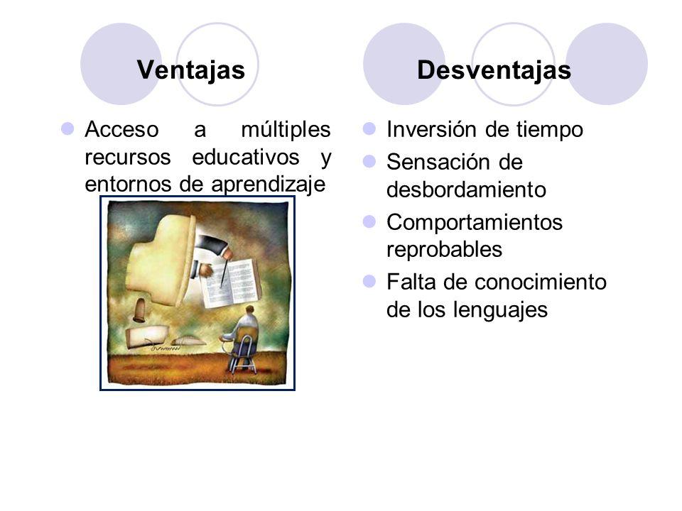 Inversión de tiempo Sensación de desbordamiento Comportamientos reprobables Falta de conocimiento de los lenguajes Acceso a múltiples recursos educati