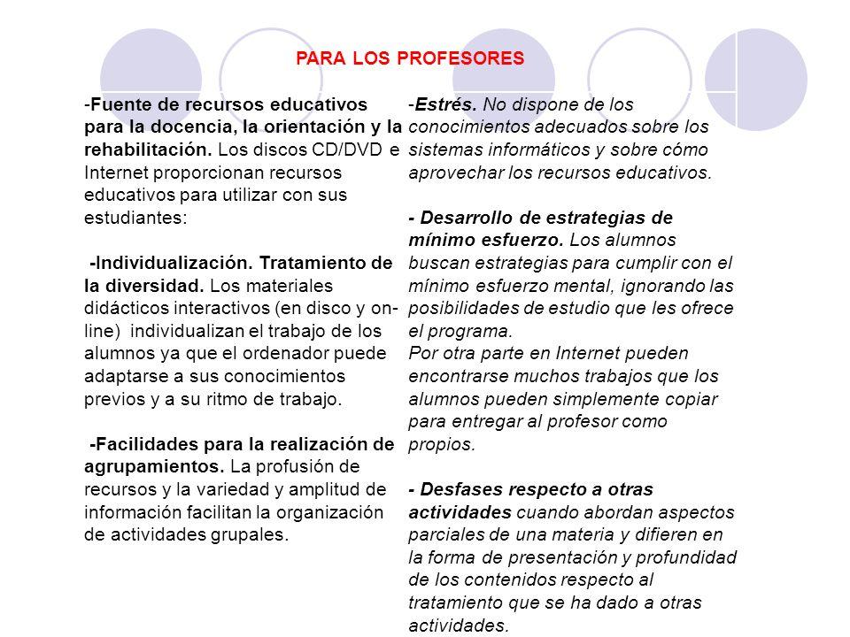 PARA LOS PROFESORES -Fuente de recursos educativos para la docencia, la orientación y la rehabilitación. Los discos CD/DVD e Internet proporcionan rec