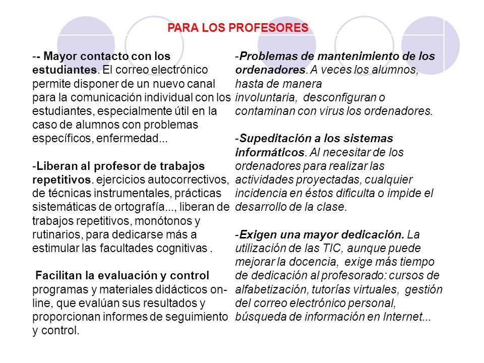 PARA LOS PROFESORES -- Mayor contacto con los estudiantes. El correo electrónico permite disponer de un nuevo canal para la comunicación individual co