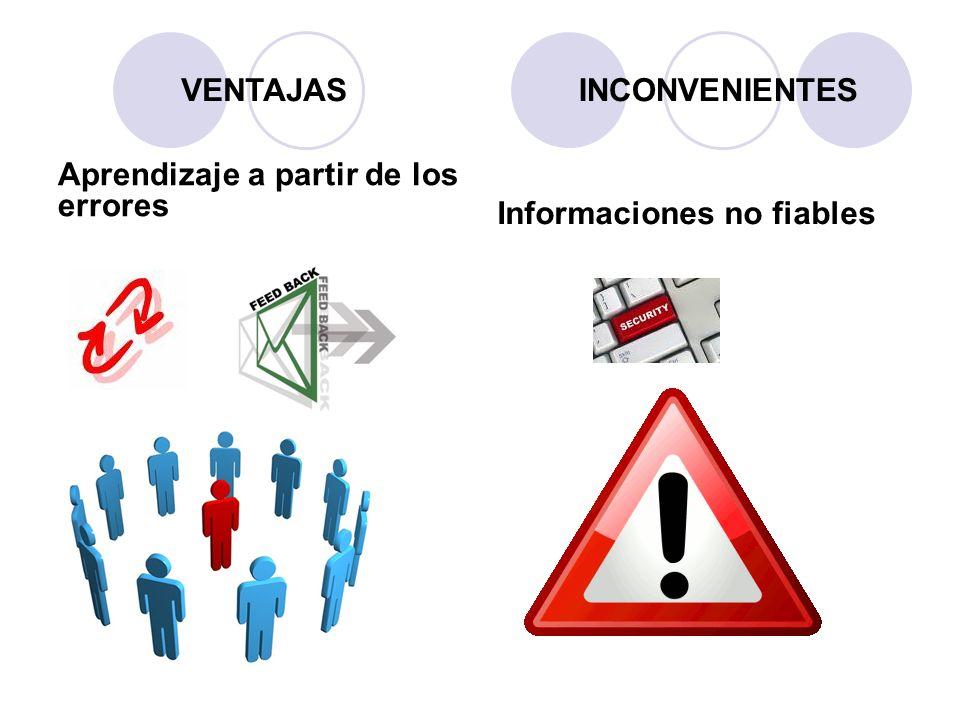 Aprendizaje a partir de los errores Informaciones no fiables VENTAJASINCONVENIENTES