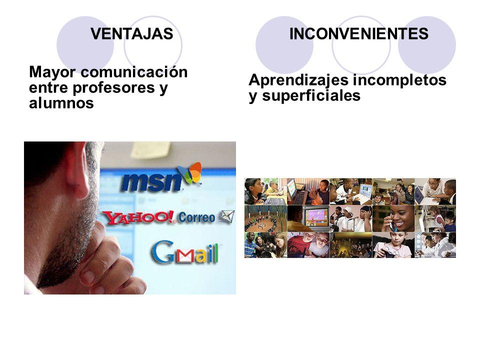 Mayor comunicación entre profesores y alumnos Aprendizajes incompletos y superficiales VENTAJASINCONVENIENTES