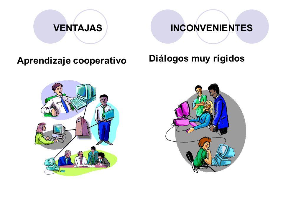 Aprendizaje cooperativo Diálogos muy rígidos VENTAJASINCONVENIENTES