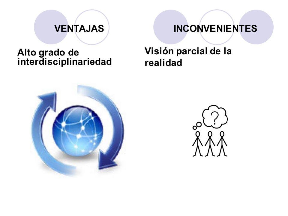 Alto grado de interdisciplinariedad Visión parcial de la realidad VENTAJASINCONVENIENTES