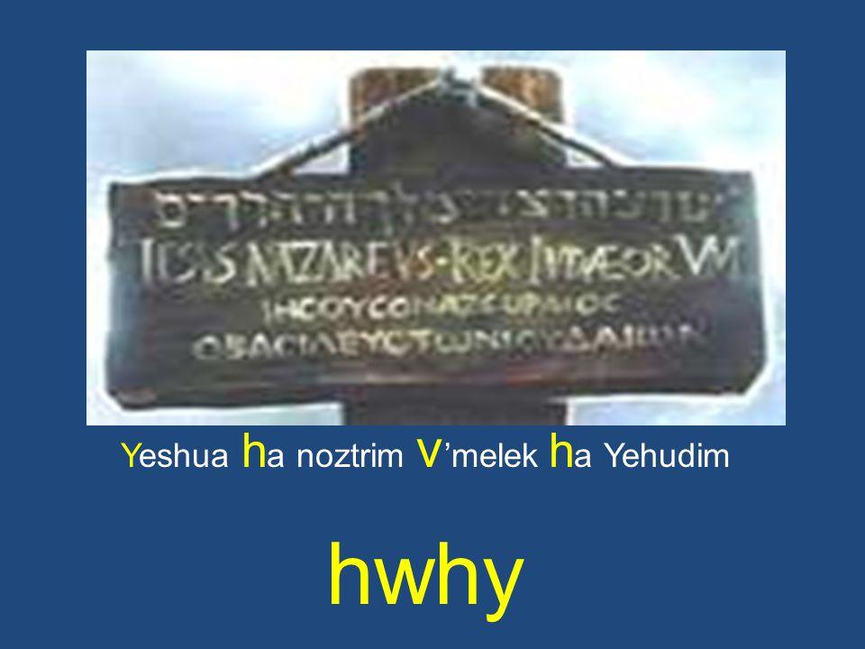 Yeshua h a noztrim v melek h a Yehudim hwhy