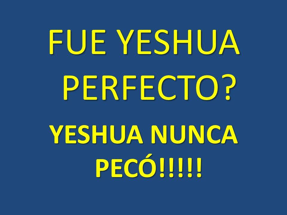 FUE YESHUA PERFECTO? YESHUA NUNCA PECÓ!!!!!