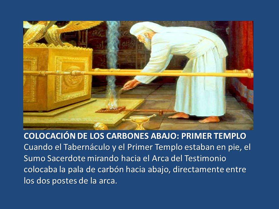 COLOCACIÓN DE LOS CARBONES ABAJO: PRIMER TEMPLO Cuando el Tabernáculo y el Primer Templo estaban en pie, el Sumo Sacerdote mirando hacia el Arca del T
